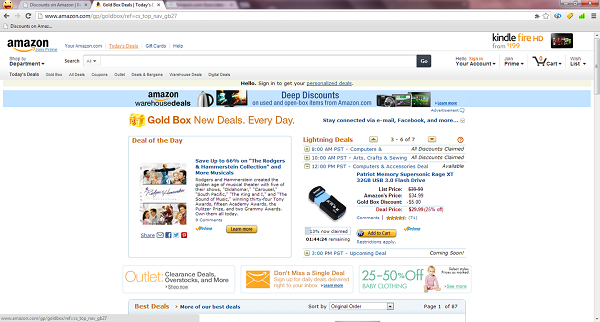 Deal of the Day is on the left side of the page - click the 'Learn More' button to see all the deals!